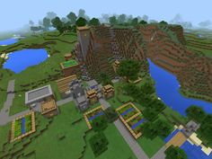cool mcpe village seed village embedded into mountain with emeralds in blacksmiths - Minecraft Garden Designs