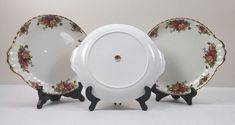 Royal Albert Old Country Roses Handled Cake Plate Serving Tray Lot of  3 #RoyalAlbert