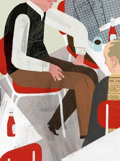 """""""The Loud Table"""" by Jonathan Carroll is an sf-fantasy about four elderly men who regularly hang out. One of the men is worried that he's getting Alzheimer's, but the truth might be even more discomforting.  Illustration by Keith Negley"""