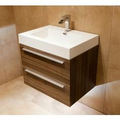 Durab Signature 690 Wall Mounted Vanity Unit with Basin - Walnut at Victorian Plumbing UK Basin Vanity Unit, Bathroom Vanity Units, Wall Mounted Vanity, Bathroom Ideas, Artificial Marble, Chrome Handles, Amazing Bathrooms, Innovation Design, Plumbing