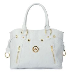 Michael Kors Logo Monogram Large White Totes