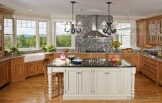 Pictures of Kitchens - Lov e the Two-Tone Kitchen Cabinets and window panes!