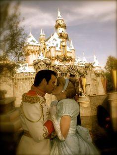 Cinderella and Prince Charming Kissing at Disneyland! Beautiful!