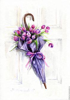 """Watercolor painting   Купить Акварель """"Цветочный зонтик"""" - акварельная бумага, хенд мейд, живопись акварелью, картина акварелью"""