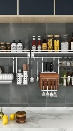 Kitchen Wall Storage, Kitchen Pantry Design, Modern Kitchen Design, Home Decor Kitchen, Interior Design Kitchen, Kitchen Organization, Kitchen Shelf Organizer, Wall Hanging Storage, Kitchen Ideas