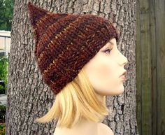e400d9c2fd5 Knit Hat Brown Womens Hat - Brown Gnome Hat in Sequoia Brown Knit Hat - Brown  Hat Brown Beanie Womens Accessories Winter Hat