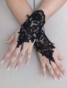Free ship Ivory black white Wedding gloves by ByMiracleBridal