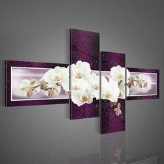 viola decorativo moderno dipinto a olio su tela wall art fiore bianco foto parete