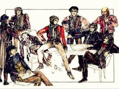Les Misérables costume sketches by Andreane Neofitou, Costume Designer Les Amis→ background: Joly, Bahorel, Courfeyrac, Lesgles foreground: Feuilly, Grantaire, Enjolras, Combeferre, Jean Prouvaire Les Miserables Characters, Les Miserables Costumes, Broadway Costumes, Theatre Plays, Drama Class, Theatre Design, Costume Design, Musicals, Sketches