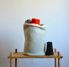 Hand Knitted Storage Bin   Lambswool Knit, Woven Lining In Off