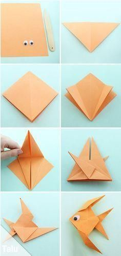 Origami fish fold out of paper - simple instructions - Talu.de Informations About Origami Fisch falten aus Papi - Origami Design, Instruções Origami, Origami Star Box, Origami Ball, Origami Butterfly, Useful Origami, Paper Crafts Origami, Origami Stars, Origami Boxes