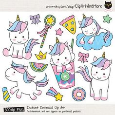 Cute unicorn vector EPS and PNG. You will receive: - 1 Vector EPS (Illustrator - 23 PNG files with transparent background. Cute Unicorn, Unicorn Party, Unicorn Birthday, Cute Animal Clipart, Rainbow Clipart, Doodles, Easy Drawings, Cute Animals, Clip Art