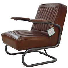 Pullman brown leather armchair with metal round frame and armrest