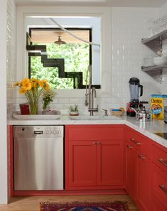 coral on the bottom, white up top; 6 Tips To Using Coral In The Kitchen