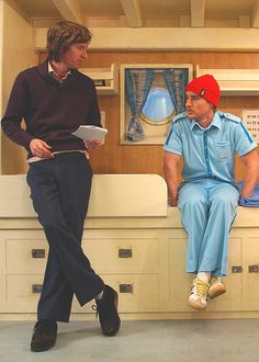 "Wes Anderson & Owen Wilson on the set of ""The Life Aquatic with Steve Zissou"" (2004)"