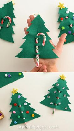 Use our printable template to make an easy Christmas tree favor using felt and candy canes! These Christmas tree favors are such a fun Christmas craft and a great craft for kids of all ages. Give them to your friends, family or teachers. Christmas Candy Crafts, Candy Cane Christmas Tree, Halloween Crafts For Kids, Felt Tree, Simple Christmas, Projects For Kids, Xmas, Navidad, Tutorials