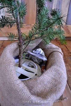 Make a burlap sacked Charlie Brown Christmas tree | Funky Junk InteriorsFunky Junk Interiors