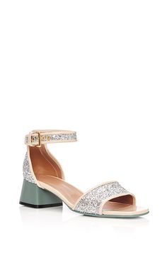 Calf Leather Glitter Sandals  by MARNI Now Available on Moda Operandi