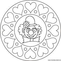 Mandala clown face - clown with hearts as a coloring page - - Clown Crafts, Carnival Crafts, Coloring Book Pages, Coloring Sheets, Adult Coloring, Mandala Kids, Clown Cirque, Clown Party, Clown Faces