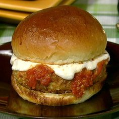 Ground Chicken Parm Burger.. YUM!