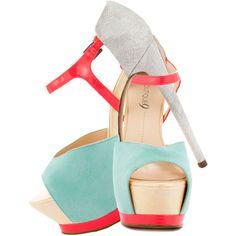Nerissa light turquois multi suede Boutique 9 featuring polyvore, women's fashion, shoes, pumps, heels, zapatos, boutique 9 shoes, heel pump, suede leather shoes, boutique 9 and suede pumps