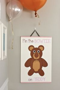 Teddy Bear Picnic Party game- Pin the Bowtie on Teddy Bear