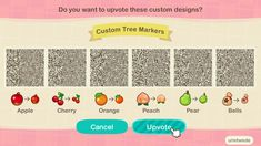 Animal Crossing QR code for custom fruit and bell tree markers Animal Crossing Pattern, Animal Crossing Guide, Animal Crossing Qr Codes Clothes, Animal Crossing Hair, Motif Acnl, Ac New Leaf, Motifs Animal, Fruit Pattern, Like Animals