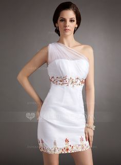 Sheath/Column One-Shoulder Short/Mini Organza Satin Homecoming Dress With Ruffle Beading Sequins (022016381)