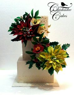 Christmas Wedding - by ChickadeeCakes @ CakesDecor.com - cake decorating website