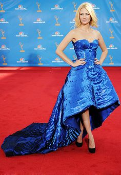 January Jones  Presenter and nominee January Jones's fashion-forward Atelier Versace gown shared some crinolines in common with Betty Draper's prim dresses.