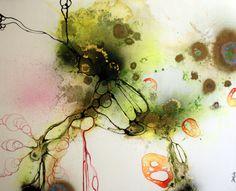 Art by Rikke Darling - A rainy day (100x120 cm) - www.rikkedarling.com    #painting #art #contemporary #kunst #maleri #orange #green #lime #gold
