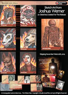 The Wicker Man official trading card set featuring sketch cards by Joshua Werner Wicker Man, All Movies, Artist Trading Cards, Card Sketches, Autumn Leaves, Book Art, Original Art, Horror, Illustration