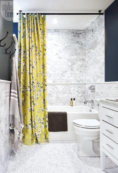 stunning linen shower curtain by Tonic Living for @cumminsdesign basement bathroom.