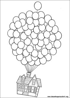 Up-Use this pic but let kids use fingerprints in balloons for color and real string. Make your world more colorful with free printable coloring pages from italks. Our free coloring pages for adults and kids. Coloring Book Pages, Printable Coloring Pages, Wedding Coloring Pages, Free Coloring, Coloring Pages For Kids, Colouring In, Mandala Coloring, Up House Drawing, Drawing Drawing