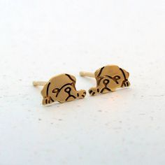 Plain Jane Pugs Gold Plated Sleepy Pug Earrings ($27) ❤ liked on Polyvore featuring jewelry, earrings, gold plated earrings, gold plated jewelry, gold plated jewellery, stud earrings et gold plated stud earrings