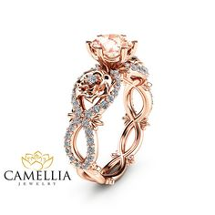 Peach Pink Morganite Engagement Ring in 14K by CamelliaJewelry