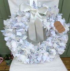 Stylish round rustic country style rag wreath white and sprig flowers by DottyCottage1 on Etsy