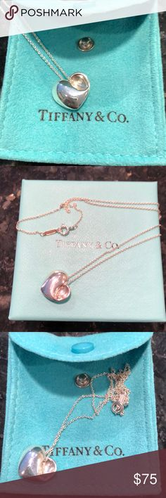 Tiffany Heart Necklace Comes with bag and box. 16 inch chain. Tiffany & Co. Jewelry Necklaces