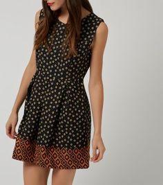 £20.00 New Look Tenki Black Contrast Hem Skater Dress