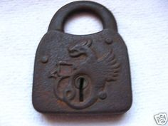 Antique Old Metal Padlock Dragon Lock Farm Tool
