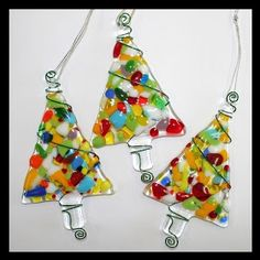 Multi-coloured fused glass Christmas trees
