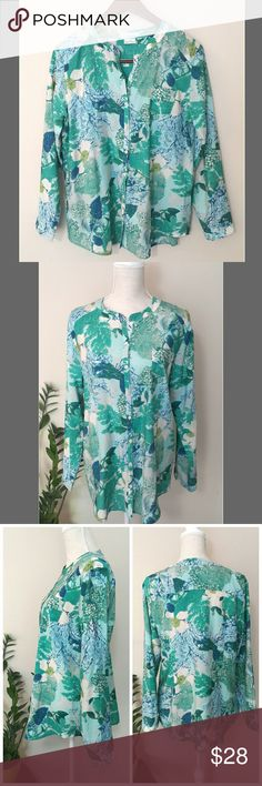 """Van Heusen Women's Button Down Blouse Tunic Size L Excellent condition. Women's Flowy Button Down Blouse Tunic from Van Heusen Studio Size Large. Beautiful and fun design. Floral/tropical pattern in mint, teal, navy, and white color. 82% rayon, 18% nylon.   ℹ Chest 20"""", Sleeve 24"""", Length 28.5"""" Van Heusen Tops Tunics"""
