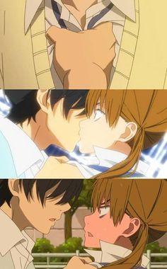 Tonari no Kaibutsu-kun - Haru and Shizuku kiss, that face tho, shizuku.