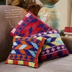 Knit striking Aztec cushions - find the pattern on CraftHub