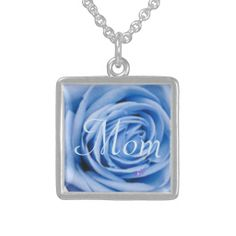 """""""Mom"""" Blue Rose Sterling Silver Square Necklace by MoonDreams Music - Also comes in Silver Plated - Great gift for a new mom of a baby boy! #sterlingsilver #necklace #mom #blue #rose #moondreamsmusic"""