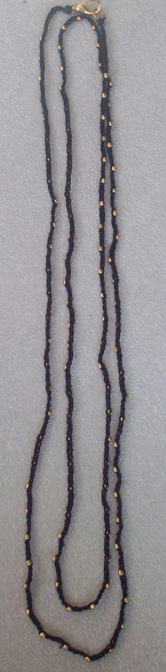 Crochet blk old gold bead necklace/bracelet by CaroLinesJewel, $15.00