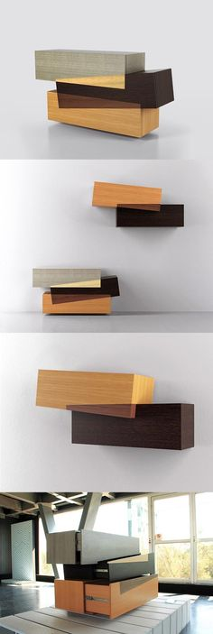 Booleanos Cabinet – Furniture Design by Joel Escalona (clever use of different species) Unique Furniture, Wooden Furniture, Contemporary Furniture, Furniture Design, Art Furniture, Deco Design, Wood Design, Regal Design, Cabinet Furniture