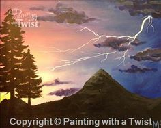 Lightning Strike Over Pinnacle - Syracuse, NY - Liverpool Painting Class - Painting with a Twist