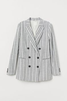 41634c4d6419a Double-breasted Jacket - Lt. gray melange white striped - Ladies