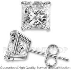 0.50 ctw Princess Cut White CZ Sterling Silver White Rhodium Stud Earrings 4x4 mm